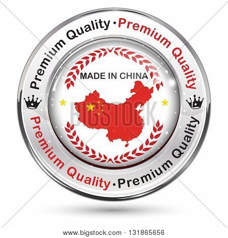 Made in China, Premium Quality - shiny elegant button / label with Chinese flag colors and map.