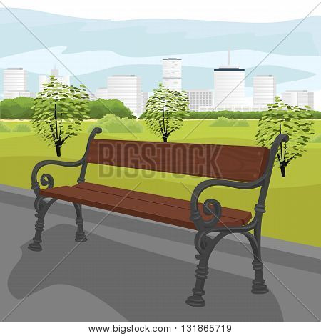 Empty wooden bench in the city park in summer
