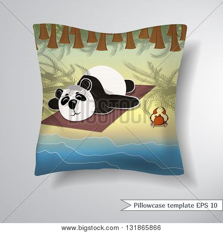 Creative sofa square pillow. Decorative pillowcase design template. Pattern with panda lying on the beach under palm trees. Vector illustration.