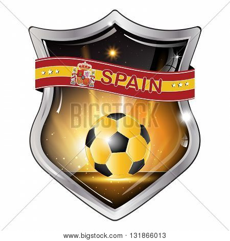 Spain flag elegant shiny icon / button / label with soccer ball.