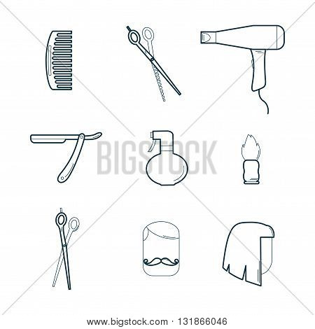 Barber Tools Set / Vector Barber Icons Set on White Background