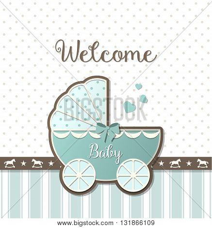 blue vintage stroller on abstract background in srapbooking style, baby shower, vector illustration, eps 10 with transparency