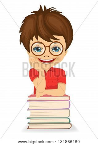 Little boy with glasses ready for school - leaning on book stack on white background