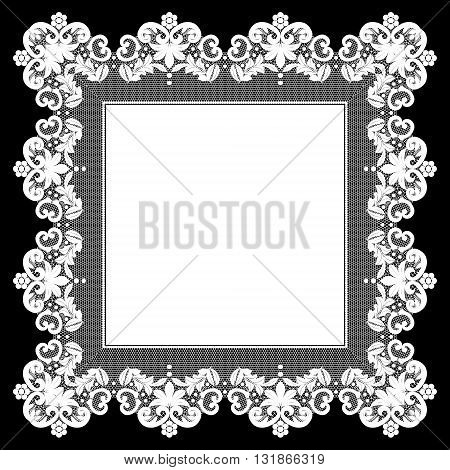 White openwork lace napkin on black background