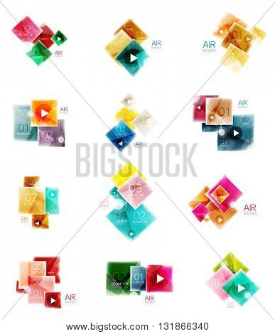 Set of square business infographic banners. Vector brochure templates