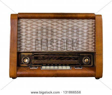 Old soviet wooden radio isolated on white.