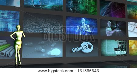Media Telecommunications Concept with Video Wall Art 3d Illustration Render
