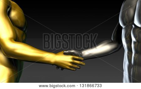 Business Handshake Between Two Companies or Parties 3d Illustration Render