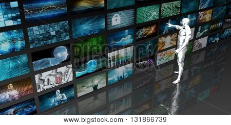 Man Looking into Video Wall Screens in 3d Illustration Render