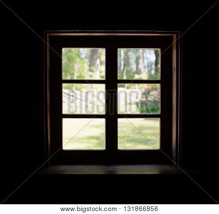 View from the window in ancient house.
