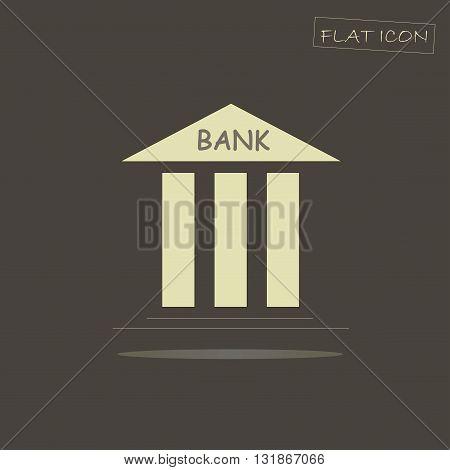 Light bank building flat icon on dark background, vector illustration