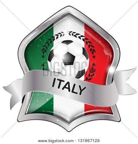 Italy flag elegant shiny icon / button / label with soccer ball, vector design.