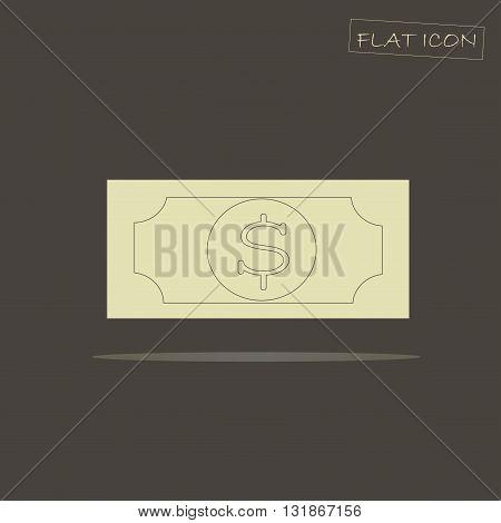 Light banknote flat icon on dark background, vector illustration