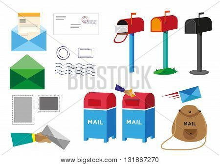 Set of Postal Service objects signs and symbols. Editable Clip Art.