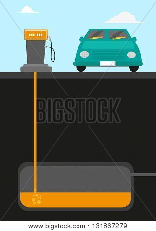 Gasoline Pumping Station diagram cutout with a car facing front . Editable Clip Art.