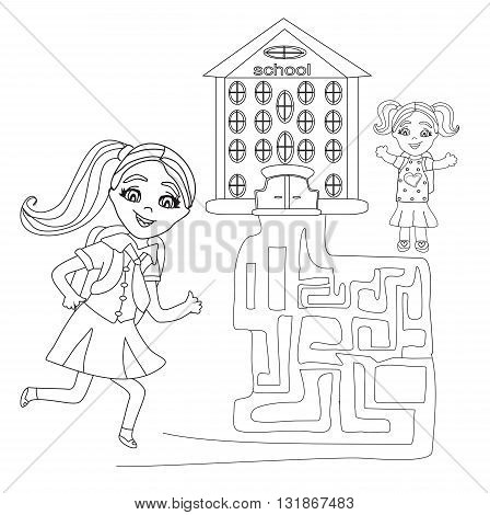 happy girls go to school - maze , doodle illustration