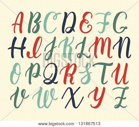Hand drawn latin calligraphy brush script of capital letters in vintage colors. Calligraphic alphabet. Vector illustration