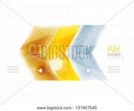 Glass arrow information web box. Vector infographic geometric abstract background