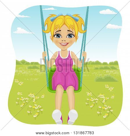 Adorable girl having fun on a swing in the summer park