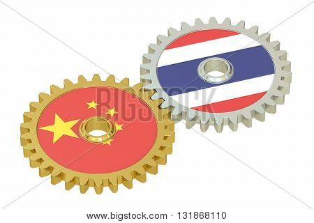 Taiwan and China flags on a gears 3D rendering isolated on white background