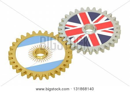United Kingdom and Argentina relations concept flags on a gears. 3D rendering isolated on white background