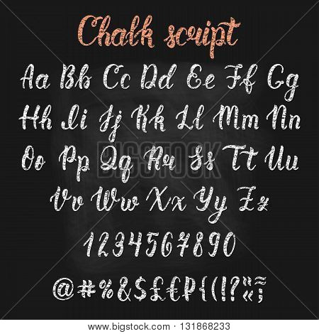 Chalk handdrawn latin calligraphy brush script with numbers and symbols. Calligraphic alphabet. Vector illustration