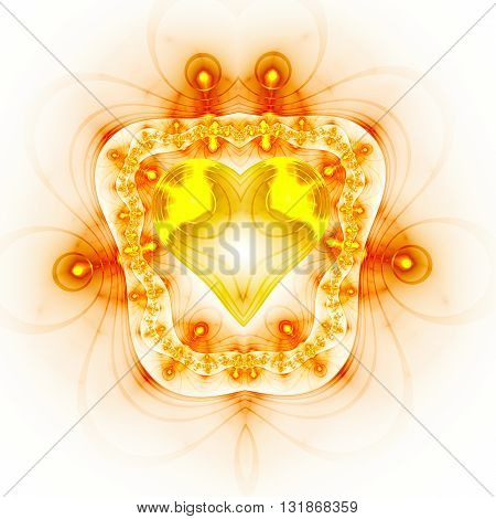 Heart in frame. Electromagnetic shield. Kabbalistic sign. Mysterious psychedelic relaxation wallpaper. Fractal abstract pattern. Digital artwork creative graphic design.