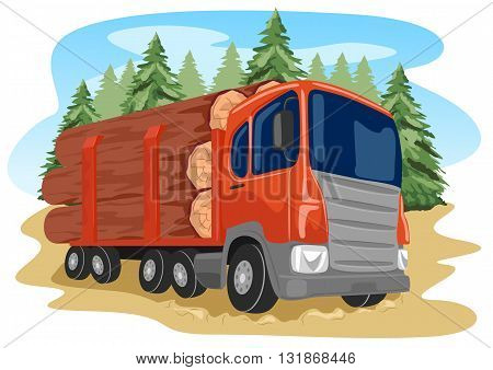heavy loaded logging truck in a forest