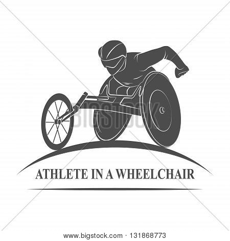 Icon athlete on wheelchair racing. Paralympic Games. Photo illustration.