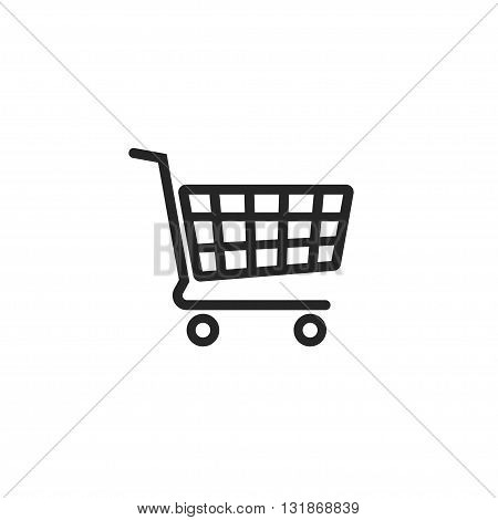 Shopping cart vector icon supermarket trolley pictogram flat simple outline sign design linear thin line illustration isolated on white background