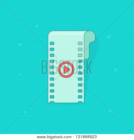 Camera film strip icon filmstrip simple flat icon cinema film strip cartoon ribbon symbol of video movie linear play button filmstrip slide outline shape shadow isolated on blue