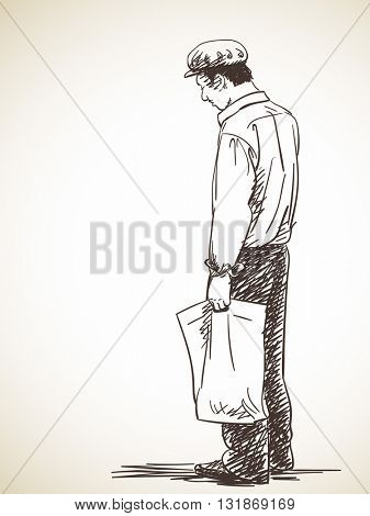 Sketch of man standing wearing retro style cap, Hand drawn illustration