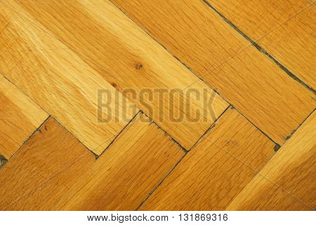 Worn Out Wooden Floor Of Sports Hall. Light Wood Flooring Worned By Use And Time