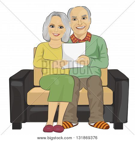 Portrait of happy senior couple reading letter togetherer isolated on white background