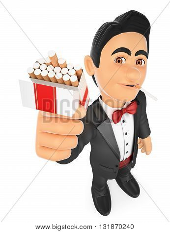 3d bow tie people illustration. Tuxedo man smoking and offering a cigarette. Isolated white background.