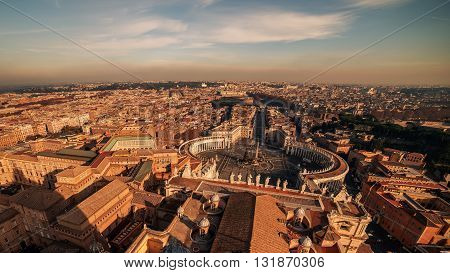 Aerial view of Vatican City and Rome, Italy. St. Peter's Square in the evening