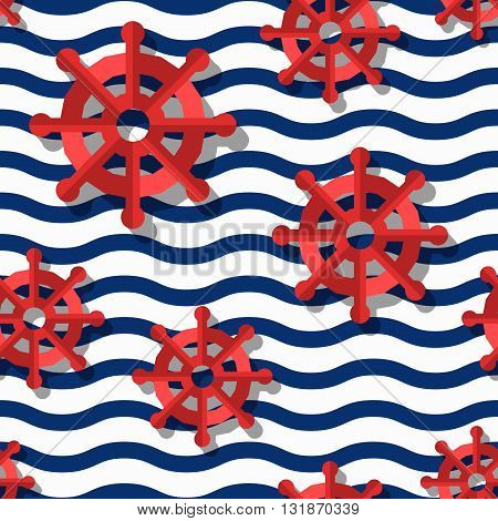 Vector Seamless Pattern With 3D Stylized Red Steering Wheels And Blue Wavy Stripes. Summer Marine St