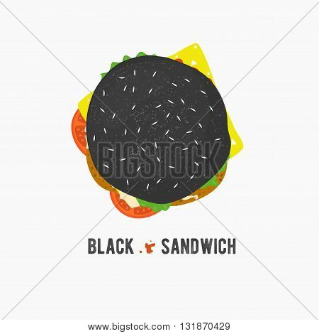 Vector black sandwich icon. Fresh hamburger with lettuce, cheese and tomatoes. Burger logo illustration. Street food. Toast in flat style.Top cheeseburger.