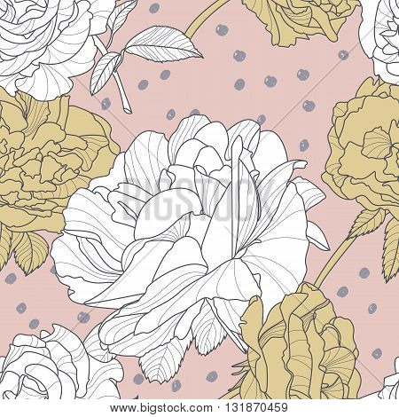 Vector Seamless Pink Pattern With Hand Drawn Rose Flowers. Floral Illustration With White And Golden