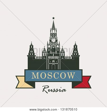 banner with the Kremlin Spassky tower and the flag of Russia