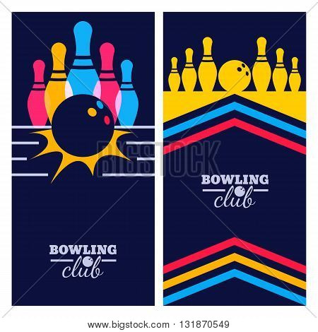 Set Of Bowling Banner Backgrounds, Poster, Flyer Or Label Design Elements. Abstract Vector Illustrat