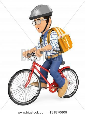 3d education people. Young student going to school by bike. Isolated white background.