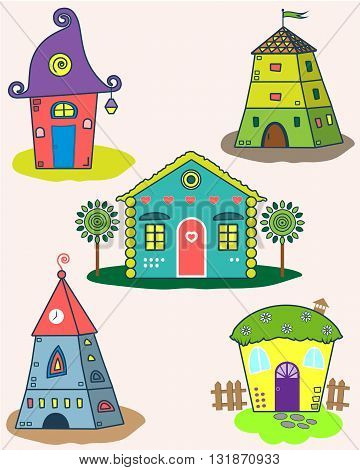 Set of the stylized houses. Five fantastic lodges, fabulous pictures for children. Vector illustration. It can be used for websites, children's magazines and advertisement