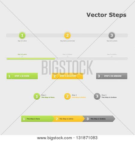 Steps infographic. Three steps