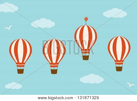 Group hot air balloons in the sky. Business advantage concept . Vector illustration