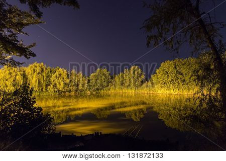 Beautiful Night Reflection on lake, Night fishing