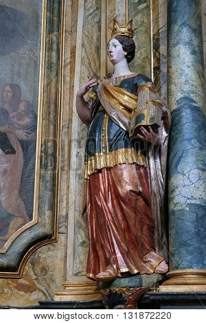 KOTARI, CROATIA - SEPTEMBER 16:Statue of Saint Cecilia on the altar in the church of Saint Leonard of Noblac in Kotari, Croatia on September 16, 2015.