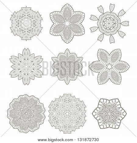 Round Geometric Ornaments Set Isolated on White Background