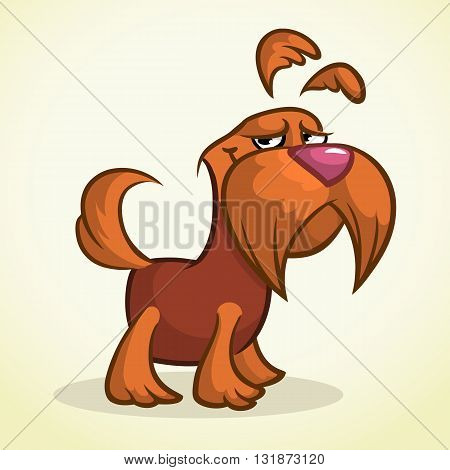 Cute cartoon scottish terrier. Vector brown Scottie dog
