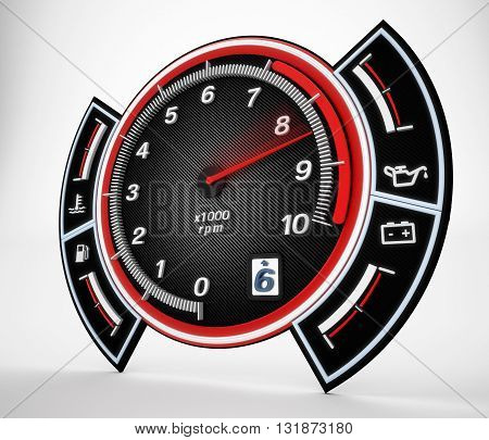 Engine RPM gauge with needle pointing high revs. 3D illustration.